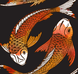 Obraz Seamless vector pattern with hand drawn Koi fish