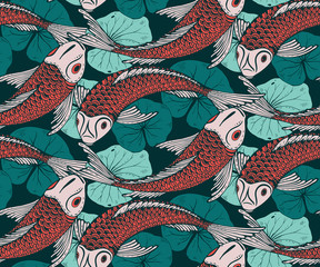Obraz na SzkleSeamless vector pattern with hand drawn Koi fish