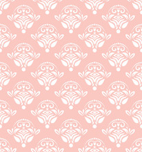 Seamless Oriental Ornament In The Style Of Baroque. Traditional Classic Vector Pink And White Pattern