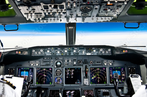 View from the flight deck of modern airliner plane Canvas Print