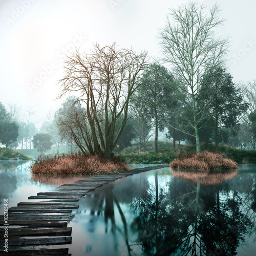 Tuinposter Bestsellers Autumn vintage landscape with old woods and lake