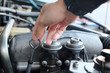 Image of a car mechanic checking the oil level. auto repair background