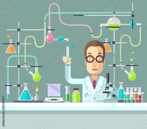 Fotografia Medical Laboratory. Vector flat illustration