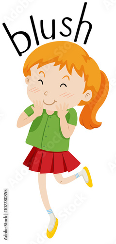 Obraz na plátně  Little girl with pigtail blushing