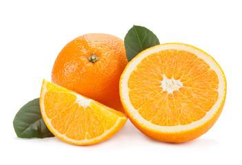 Orange citrus slice on white