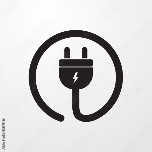Fotografía Electrial plug, Power cord icon for web and mobile