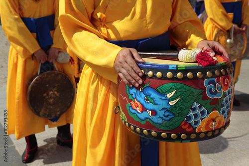 Seoul, South Korea, traditional changing of the royal guard drum