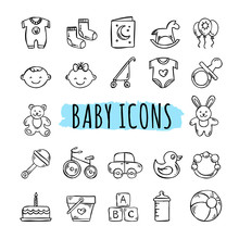 Sketched Baby Icons Vector Set...