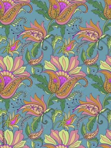 Fotografie, Obraz  vector seamless jacobean flower and paisley pattern