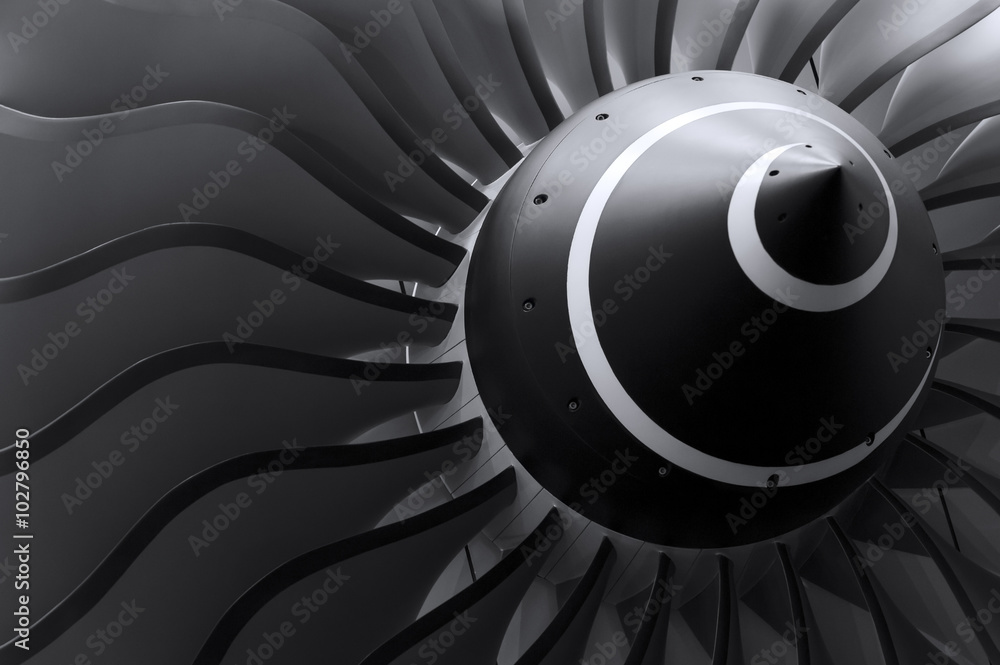 Fototapety, obrazy: Turbine blades of turbo jet engine for passenger plane, aircraft concept, aviation and aerospace industry