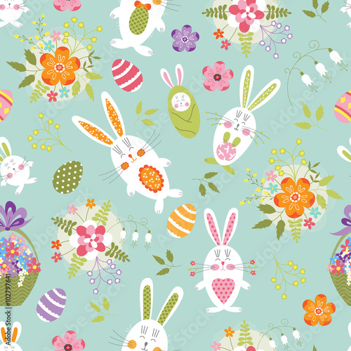 Cotton fabric Easter seamless pattern