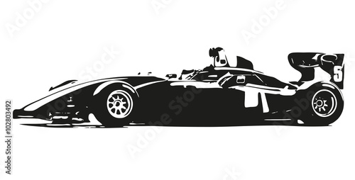 Formula car vector silhouette illustration - 102803492
