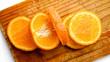 an orange on a white background
