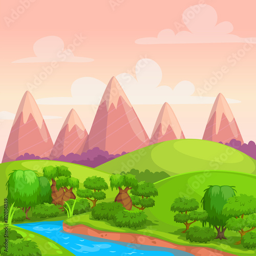 Tuinposter Lime groen Cute bright vector sunny day landscape