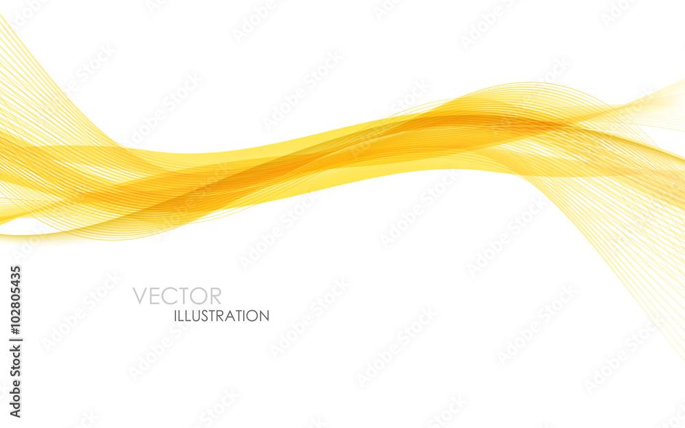 Fototapeta Abstract orange waves - data stream concept. Vector illustration