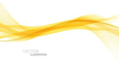 Abstract orange waves - data stream concept. Vector illustration
