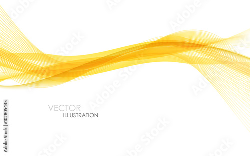 Poster de jardin Abstract wave Abstract orange waves - data stream concept. Vector illustration