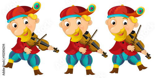 Aluminium Prints Wild West Cartoon medieval character - jester with violin - isolated - illustration for the children