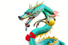 Chinese Style Green Dragon Statue Isolated On White Background