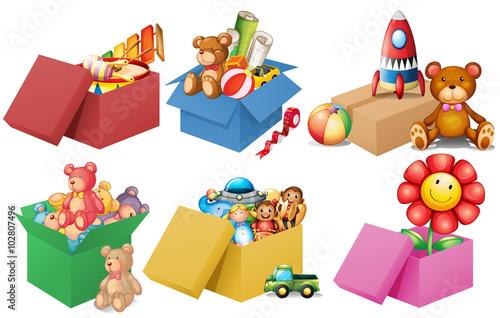 Fotografía Six boxes of toys