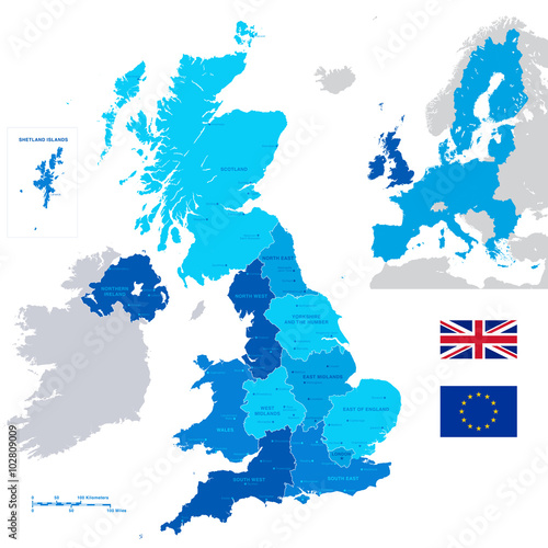 Fotografia  Vector Administrative UK Map