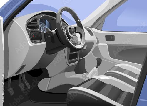 Staande foto Cartoon cars car interior