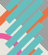 Abstract Retro 80s Background With Geometric Shapes And Pattern. Material Design.