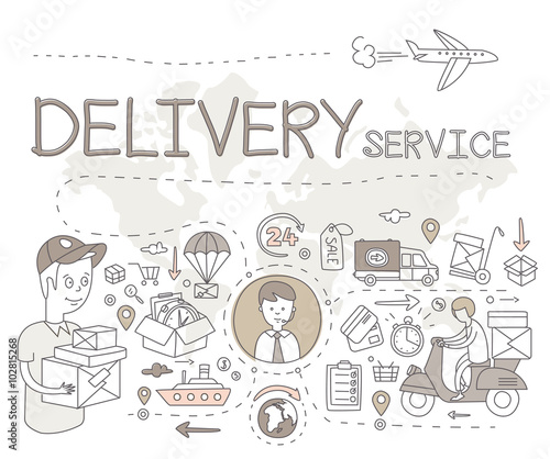 Fototapety, obrazy: Delivery Service Infographics. Vector Illustration