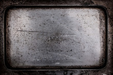 Scratched Bottom Of An Old Silver Tray.