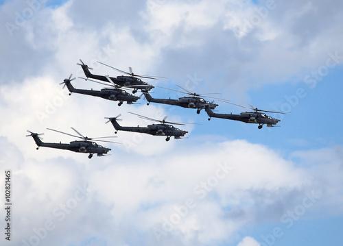 Combat helicopters in flight Fototapet
