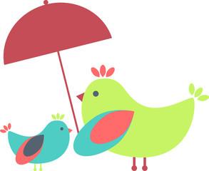 Obraz Birds family under an umbrella