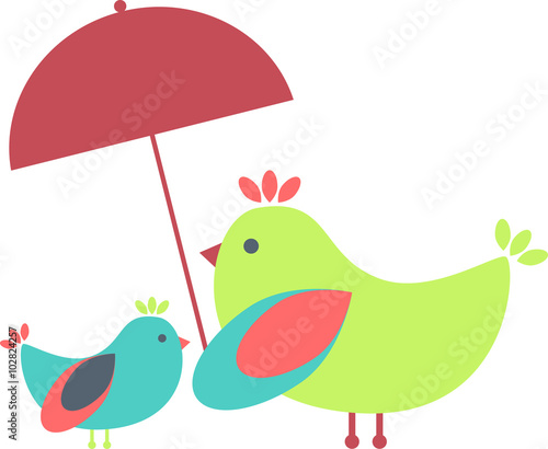Birds family under an umbrella - 102824257