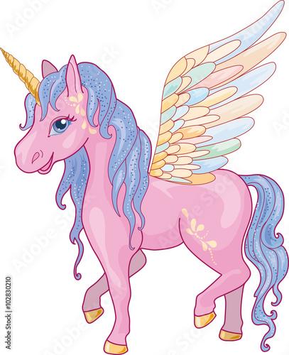 Poster Pony Unicorn Pegasus Vector Illustration