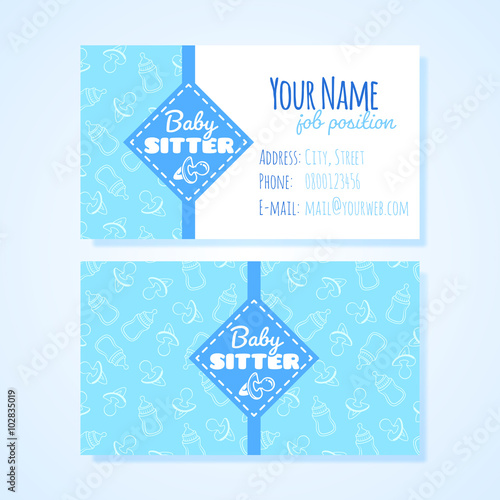 Two horizontal business card template for babysitter service buy two horizontal business card template for babysitter service reheart Gallery