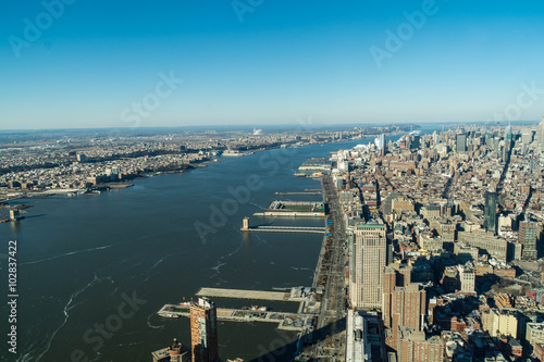New York aerial view of Hudson river and West Side