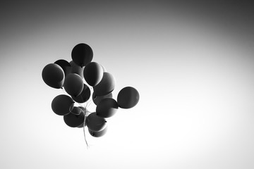 Balloons in air black and white