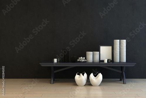 Fényképezés  Display of modern ceramics on a black table