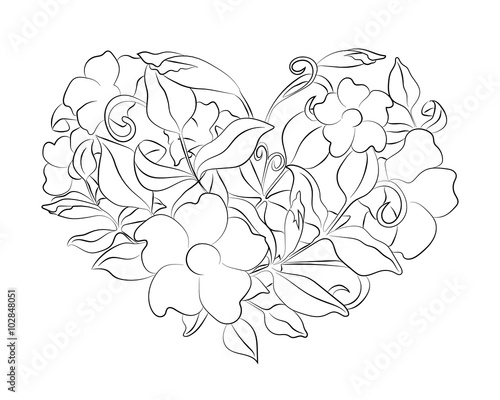 Coloring Page Flower Heart With Details Isolated On White Background Doodle Zentangle