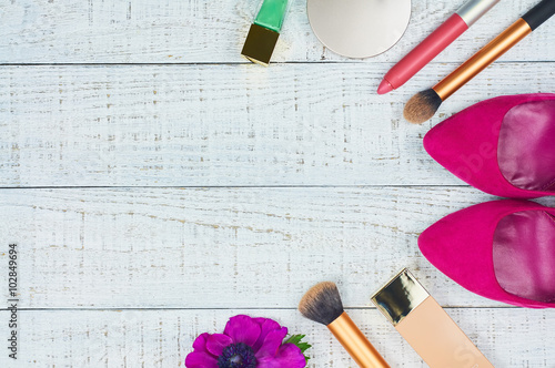 Still life of fashion woman. Modern female accessories. Feminine cosmetic background. Overhead of essentials fashion women objects. Top view