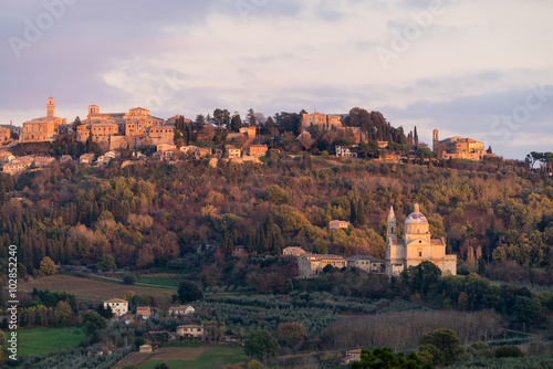 Printed kitchen splashbacks Athens Medieval and Renaissance town Montepulciano, Tuscany, violet sunset