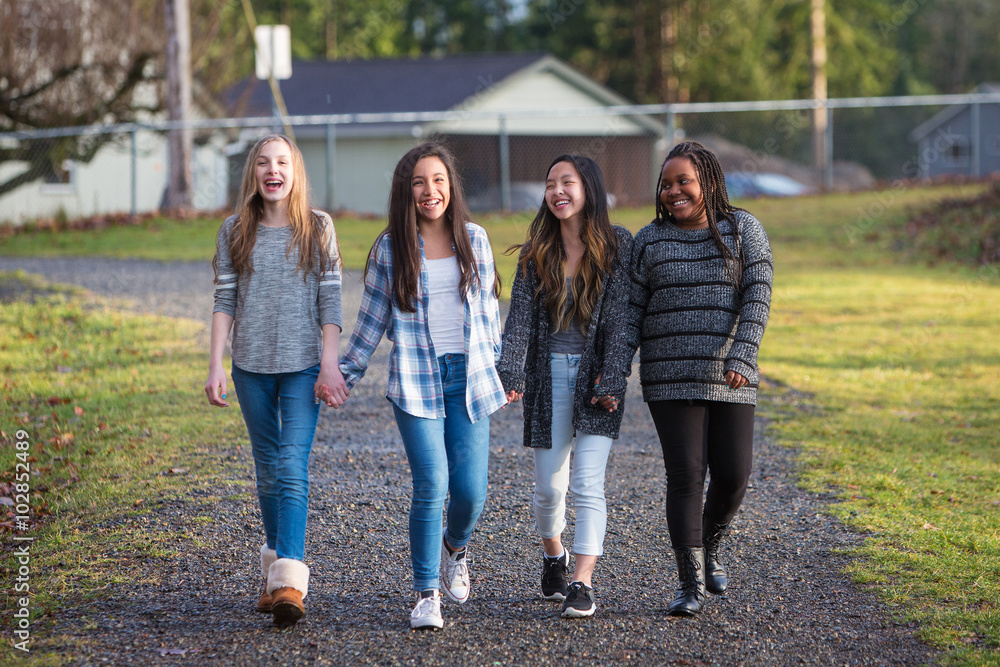 Fototapeta Group of young girls holding hands and laughing while walking on