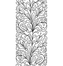 Seamless Borders Vector In Doodle Style. Floral, Ornate, Decorative, Valentines, Womens Day Design Elements. Black And White Background. Christmas Tree, Gift Box, Balls. Zentangle Coloring Book Page