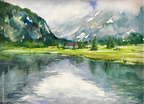 Poster Kaki Summer landscape with mountain lake painted with watercolors