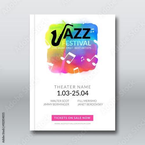 Jazz music vector poster templates set  Hand drawn