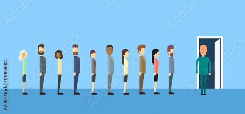 Fotografie, Obraz  Business People Group Sitting In Line Queue Door