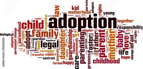 Photo Adoption word cloud concept. Vector illustration