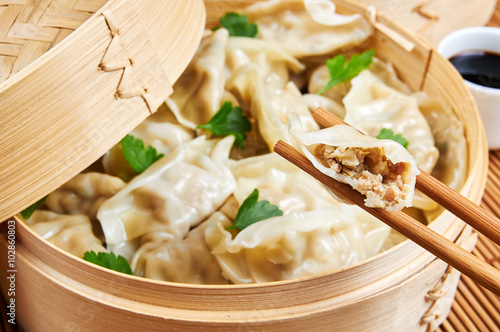 Steamed asian dumplings. Dumplings filled with vegetables