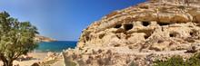Panorama Wohnhöhlen Von Matala / Insel Kreta