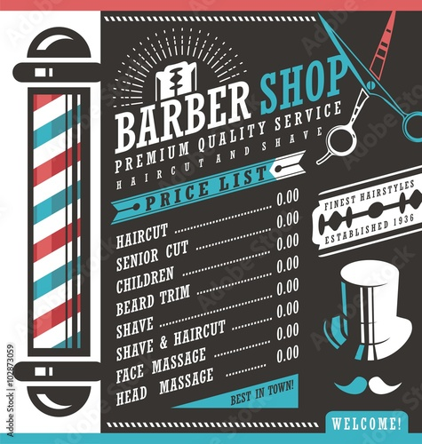Barber Shop vector price list template - Buy this stock vector and ...
