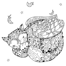Hand Drawn Doodle Outline Cat With Angel Wings Sleeping Decorated With Ornaments.Vector Zentangle Illustration.Floral Ornament.Sketch For Tattoo Or Coloring Pages.Boho Style.